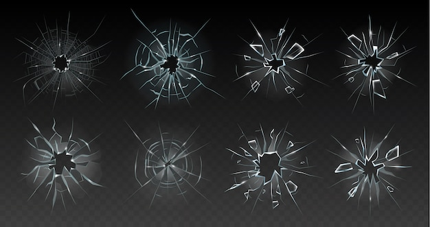 Realistic cracked glass illustration Premium Vector