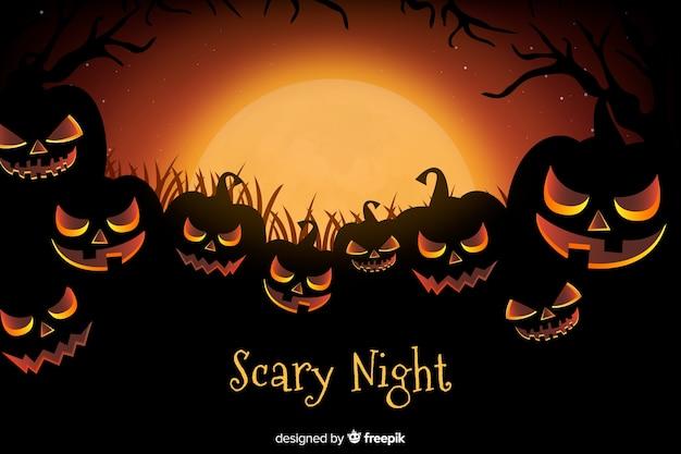 Realistic creepy pumpkins halloween background Free Vector