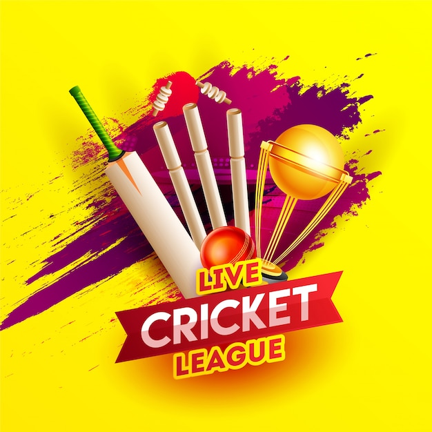 Realistic cricket elements on red brush stroke yellow background Premium Vector