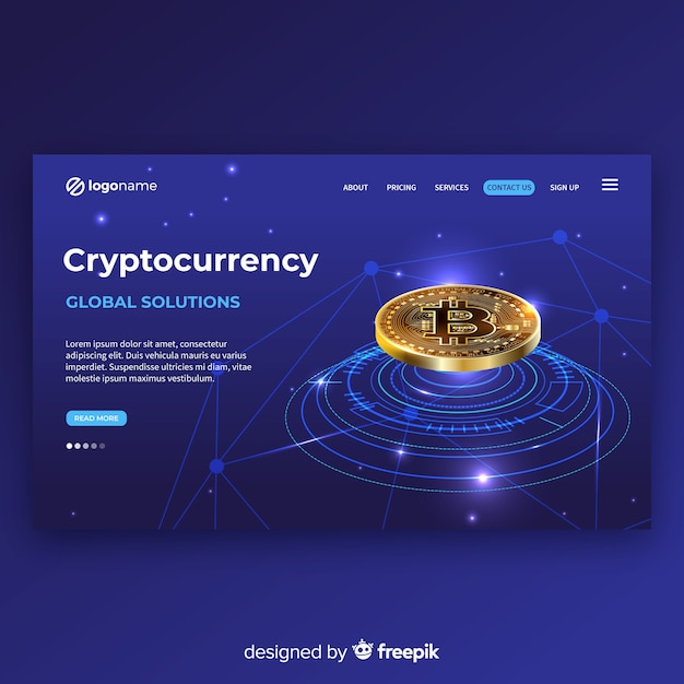 Realistic cryptocurrency landing page template Free Vector