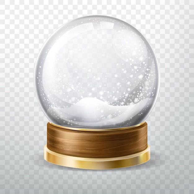 Realistic crystal globe set with fallen snow Free Vector