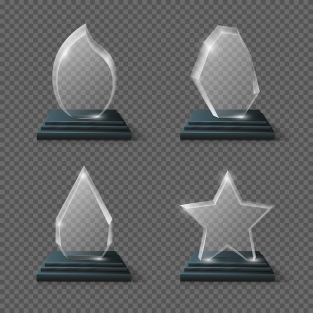 Realistic crystal trophy, glass awards set. glass trophy transparency plate, panel of glass Premium Vector