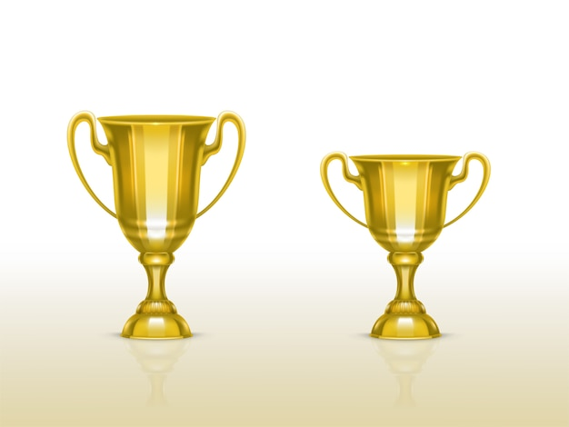 Realistic cup, golden trophy for winner of competition, championship.  Free Vector