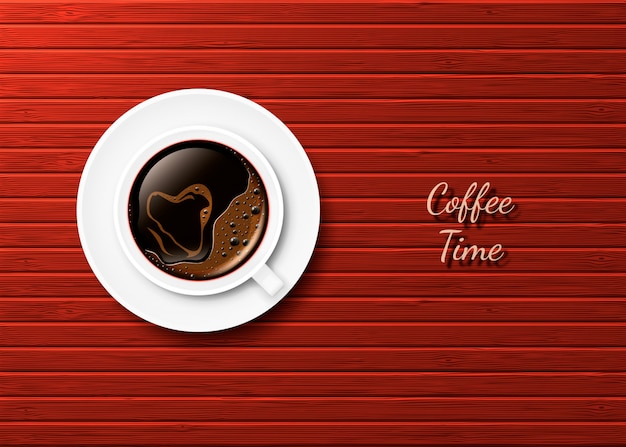 Realistic cup of hot coffee with a heart and saucer on the surface of red-brown boards. Premium Vector