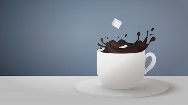 밝아진 회색 배경에 커피와 현실적인 컵. 설탕 큐브는 커피 한잔에서 떨어집니다. 프리미엄 벡터