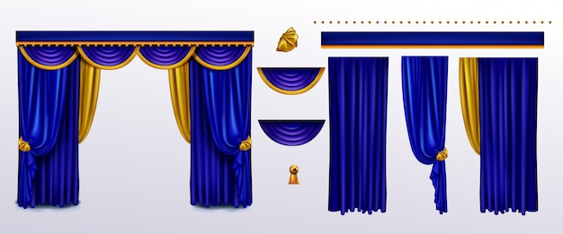 Realistic curtains set, blue cloth with gold ties Free Vector