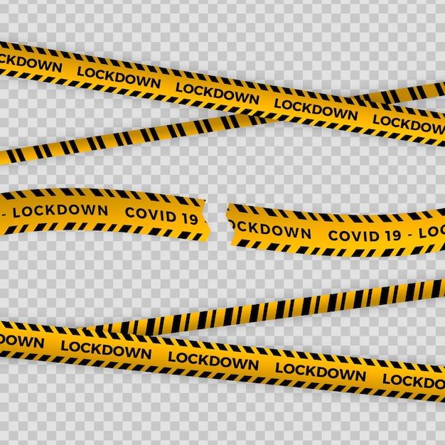 Реалистичная огранка карантинной ленты Бесплатные векторы