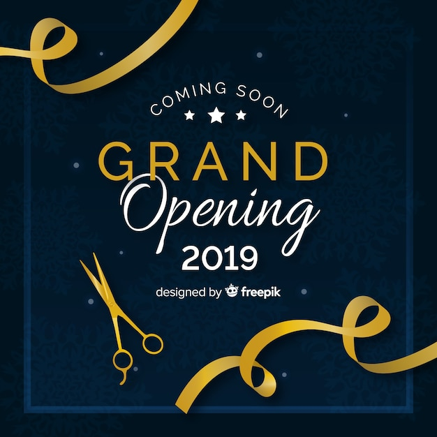 Realistic cut ribbon grand opening background Free Vector