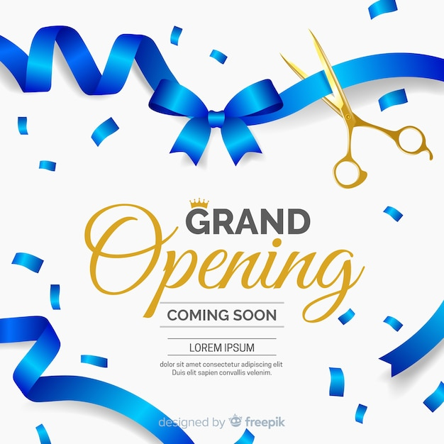 Realistic cut ribbon grand opening background Premium Vector