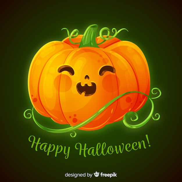 Realistic cute halloween pumpkin Free Vector