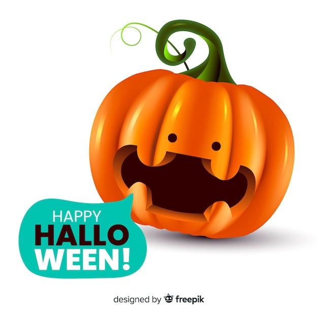 Realistic cute halloween pumpkin Free Vector