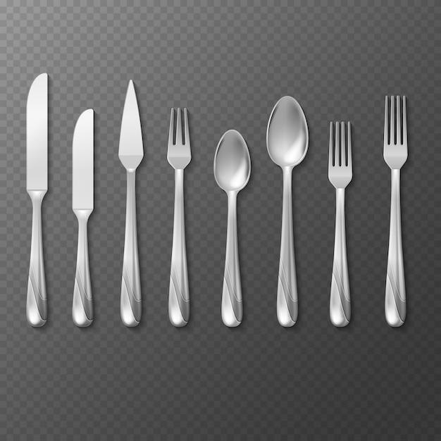 Realistic cutlery set Premium Vector