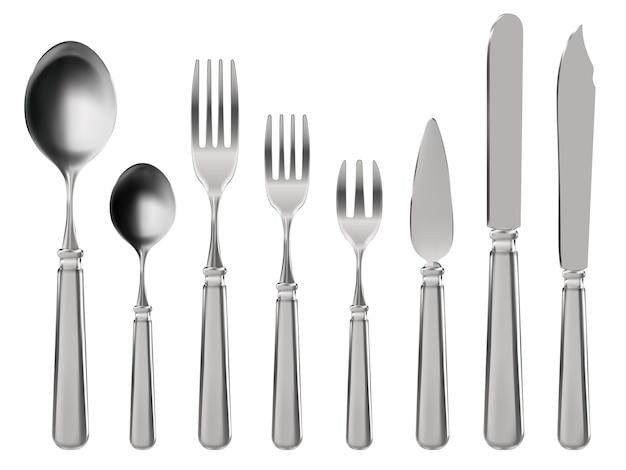 リアルなカトラリー。ステンレス製の食器、ナイフ、スプーン、フォーク。 Premiumベクター
