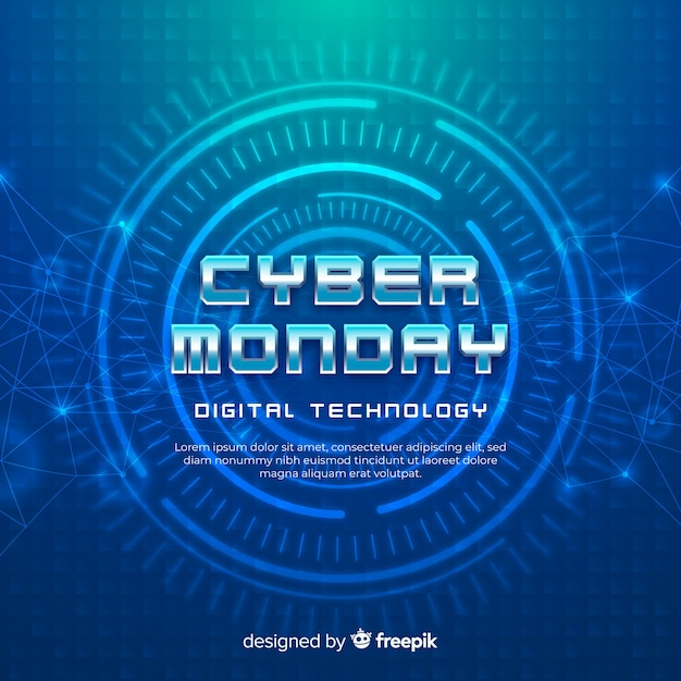 Realistic cyber monday background Free Vector