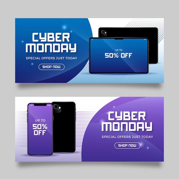 Modello realistico di banner cyber lunedì Vettore gratuito