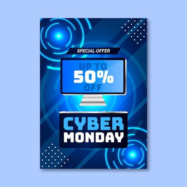 Modello realistico di volantino cyber lunedì Vettore gratuito