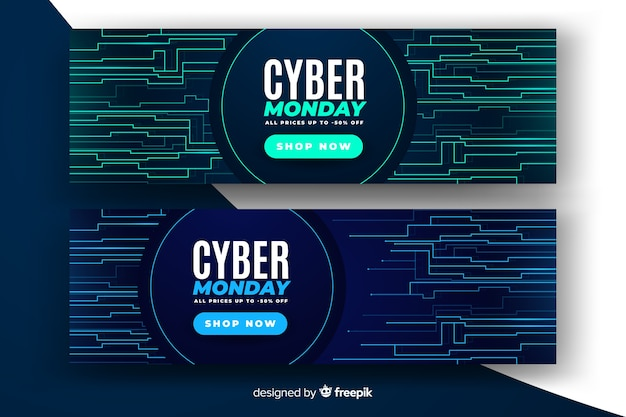 Realistic cyber monday sale banner with glitch effect Free Vector