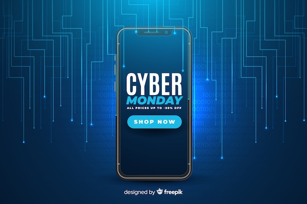 Realistic cyber monday technology Free Vector