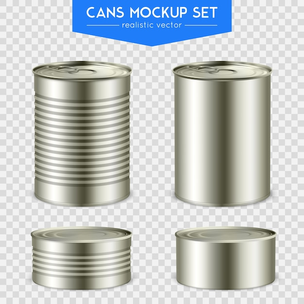 Realistic cylindrical cans set Free Vector