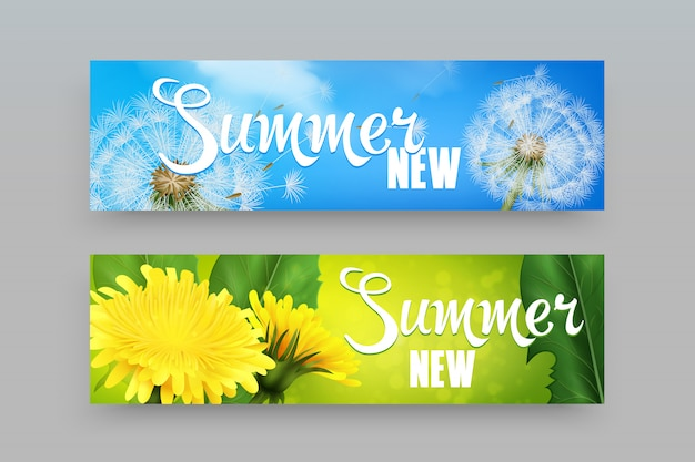 Realistic dandelions banners Free Vector