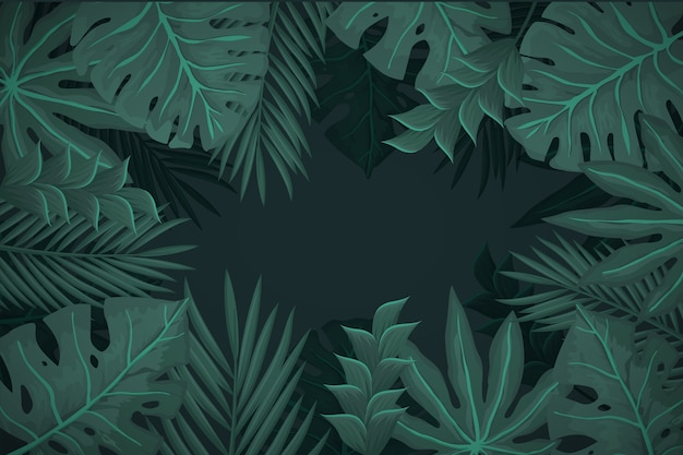 Realistic dark tropical leaves background Free Vector