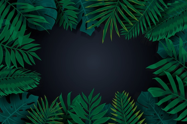 Realistic dark tropical leaves frame background Free Vector