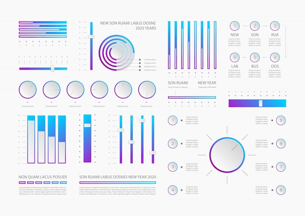 Realistic dashboard infographic elements template Premium Vector