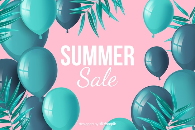 Realistic decorative balloons sales background Free Vector