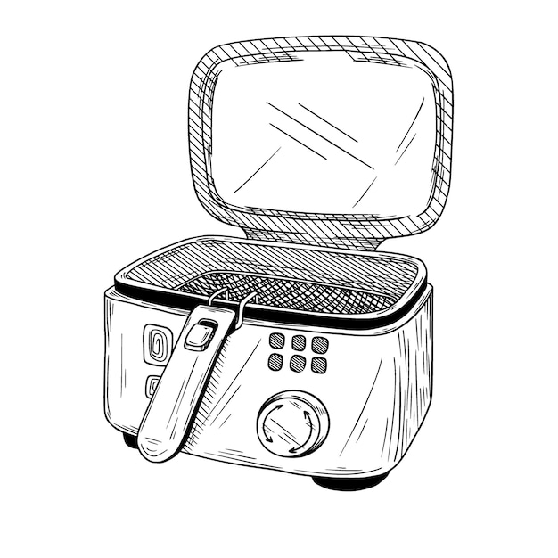 Realistic deep fryer  on white background.  illustration Premium Vector