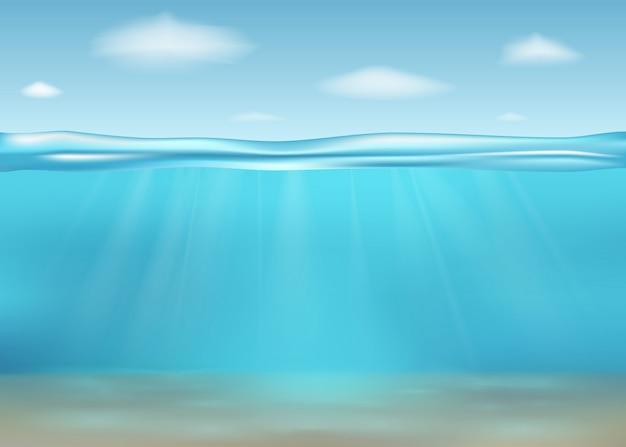 Реалистичное глубокое подводное море. баннер с горизонтальной прозрачной водной поверхностью. подводное глубокое море. иллюстрации. Premium векторы