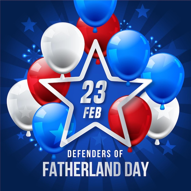 Realistic defenders of fatherland day balloons Free Vector