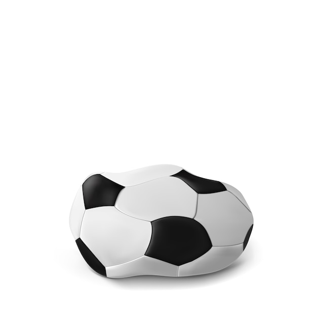 Realistic deflated football, soccer ball isolated on white .   the deflated ball. classic Premium Vector