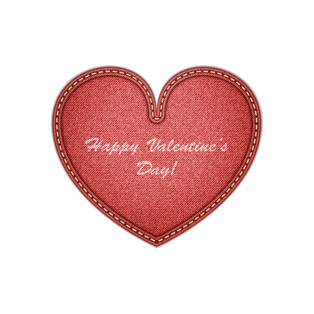Realistic denim heart valentine's day greeting Premium Vector