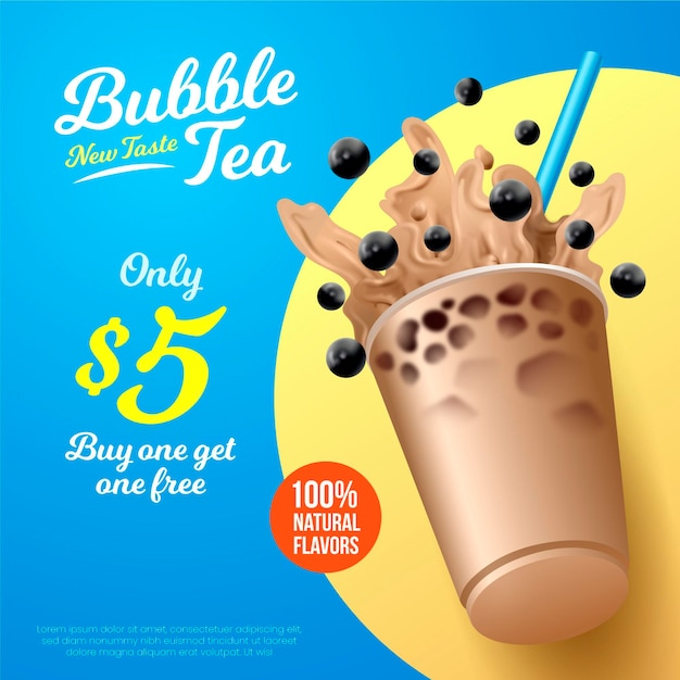 Realistic design bubble tea ad Premium Vector