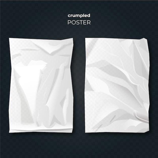 Реалистичный дизайн скомканный эффект плаката Бесплатные векторы