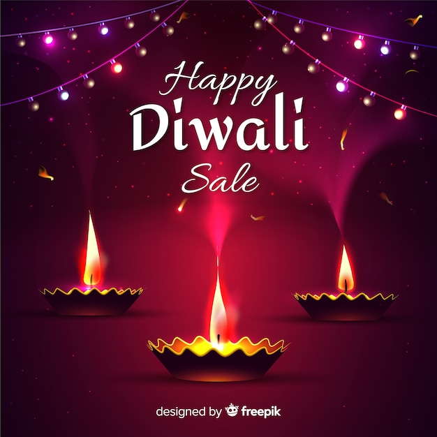 Realistic design diwali sale with candles Free Vector