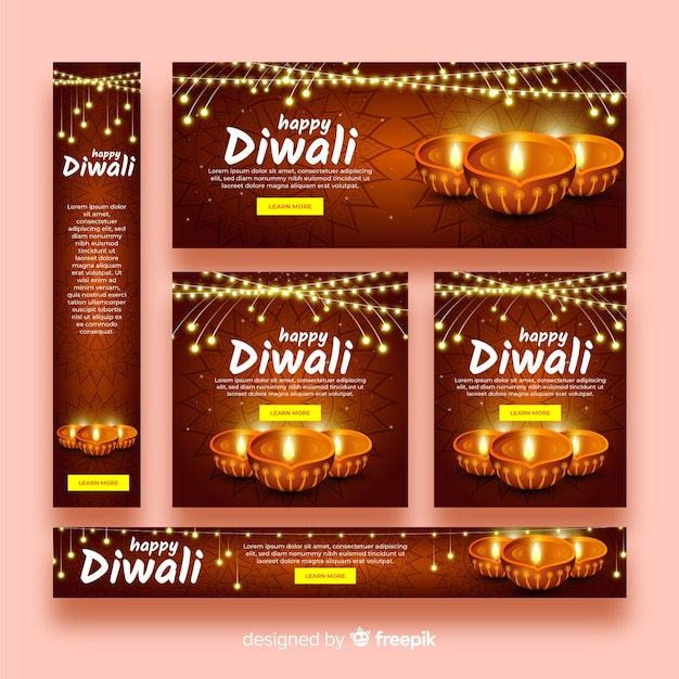 Realistic Design Diwali Web Banners Vector Free Download
