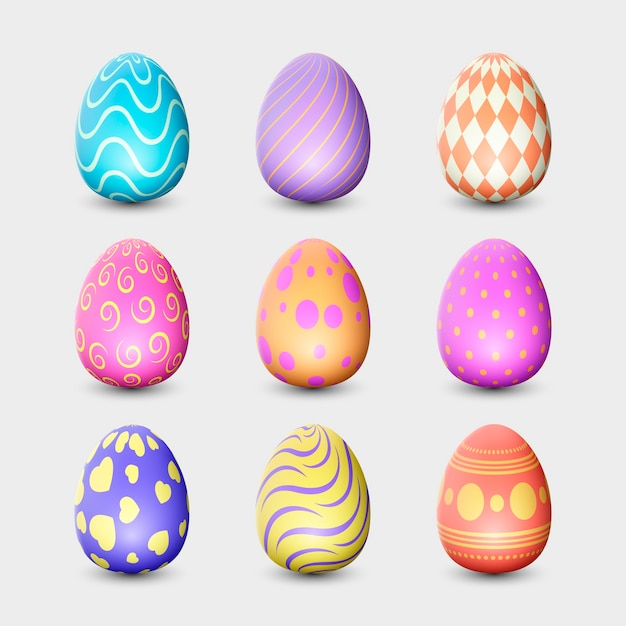 Realistic design easter day egg collection Free Vector