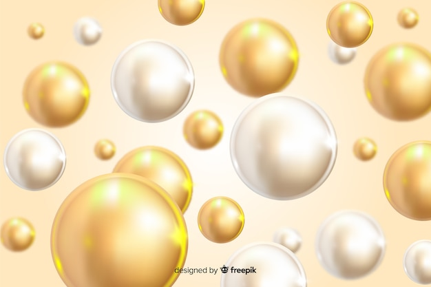 Realistic design flowing glossy balls background Free Vector