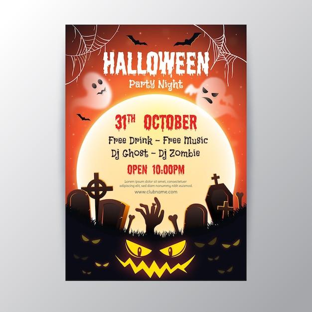 Реалистичный дизайн плаката хэллоуина Бесплатные векторы