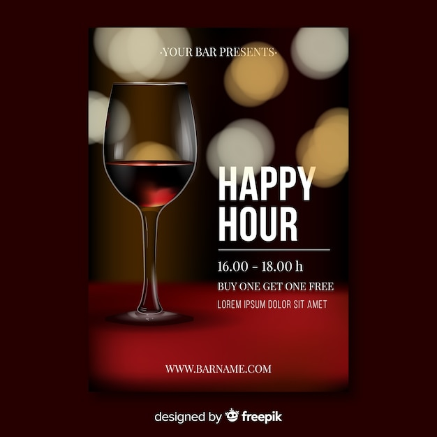 Realistic design happy hour poster template Free Vector