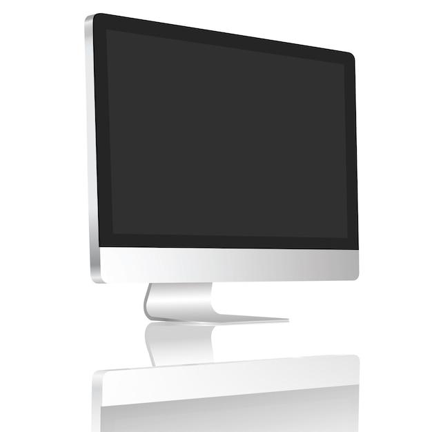 Realistic desktop blank screen set on 45 degree isolate on white background. Premium Vector
