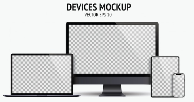 Realistic devices set of monitor, laptop, tablet, smartphone dark grey color Premium Vector