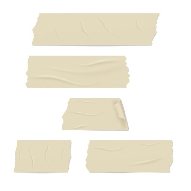 접착 테이프의 현실적인 다른 조각 프리미엄 벡터