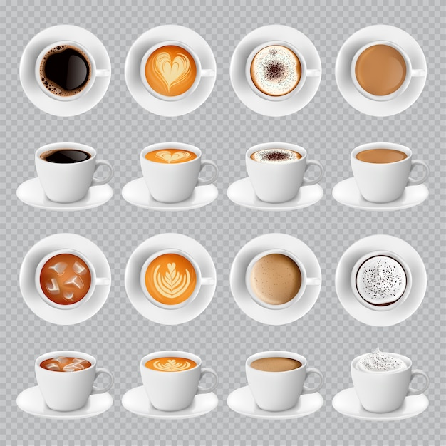 Realistic different sorts of coffee in white cups Premium Vector
