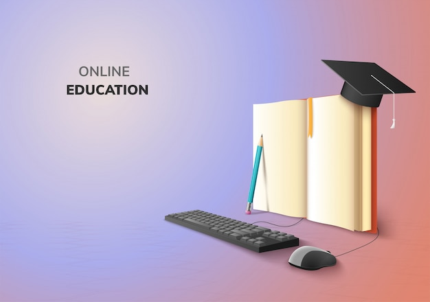 Realistic digital online concept. education application learning on gradient website background. decor by book lecture pencil  computer mouse keyboard graduation hat. 3d   illustration copy space Premium Vector