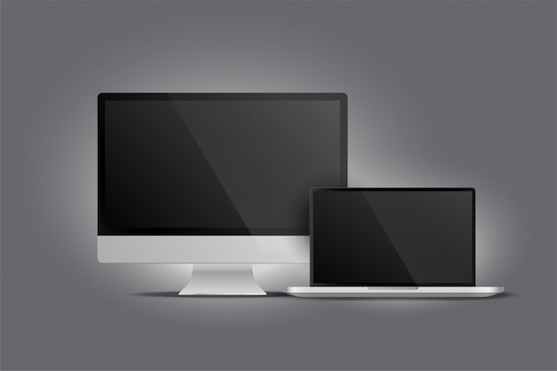 Реалистичный дисплей рабочего стола монитора и ноутбука Бесплатные векторы