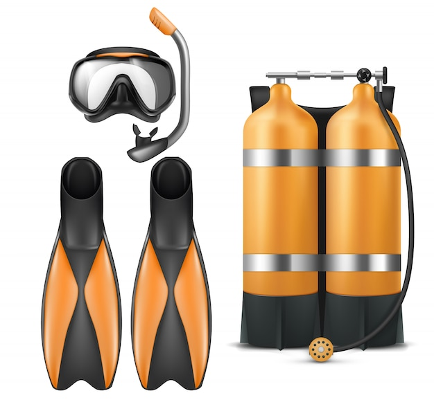 Realistic diver equipment set, snorkeling mask with snorkel, orange aqua lung and flippers Free Vector