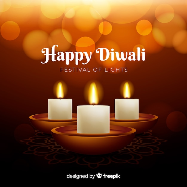 Realistic diwali background with candles Free Vector