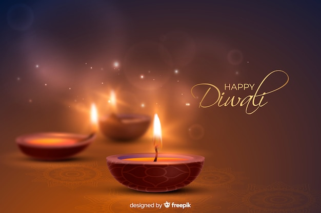 Realistic diwali background with festive candles Free Vector